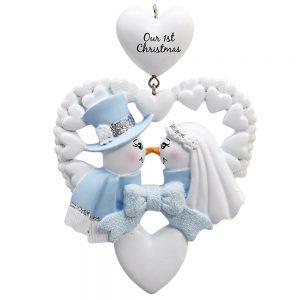 Snow Wedding Christmas Personalized Christmas Ornament - Blank