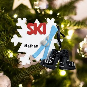 Personalized Ski Snowflake Christmas Ornament
