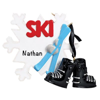 Ski Snowflake Personalized Christmas Ornament