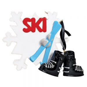 Ski Snowflake Personalized Christmas Ornament - Blank