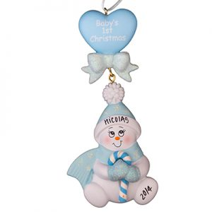 "Blue ""Baby's 1st Christmas"" Candycane Snowbaby"