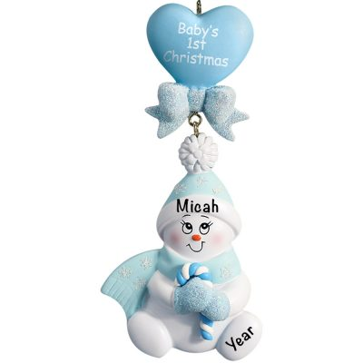 Baby's 1st Christmas Blue Snowbaby Dangling Personalized Christmas Ornament