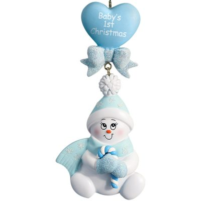 Baby's 1st Christmas Blue Snowbaby Dangling Personalized Christmas Ornament - Blank