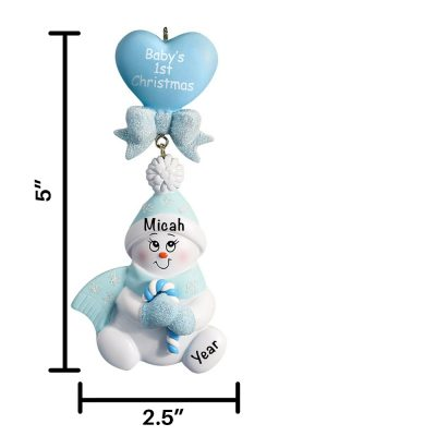 Blue Candy Cane Snowbaby Personalized Christmas Ornament