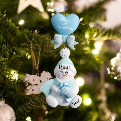 Personalized Blue Candycane Snowbaby Christmas Ornament