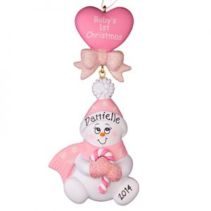 "Pink ""Baby's 1st Christmas"" Candycane Snowbaby"