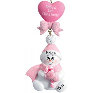 Baby's 1st Christmas Pink Snowbaby Dangling Personalized Christmas Ornament