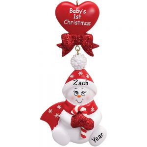 Baby's 1st Christmas Red Snowbaby Dangling Personalized Christmas Ornament