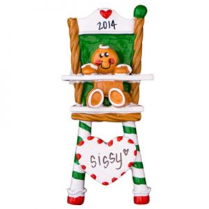 Gingerbread High Chair Personalized Ornament