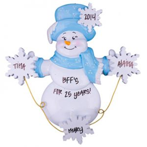 Snowman Snowflakes Family of 3 Personalized Ornament