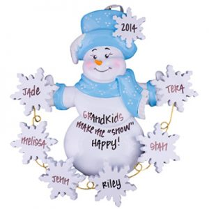 Snowman Snowflakes Family of 6 Personalized Ornament