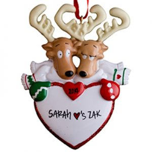 Reindeer Couple Scarves Personalized Ornament