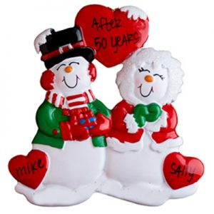 Old Snow Couple Hearts Personalized Ornament