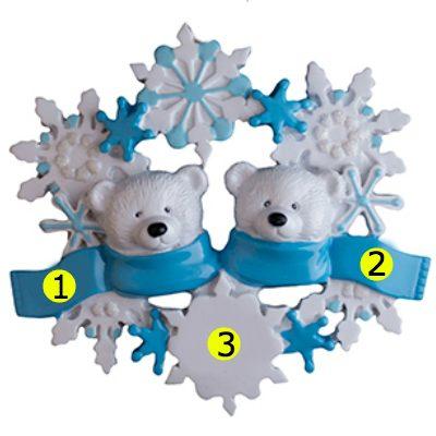 Polar Bear Couple Personalized Ornament