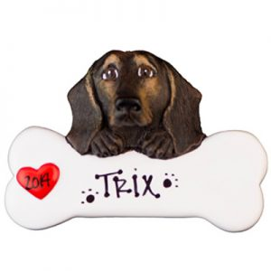 Daschund - Black & Tan Personalized Ornament