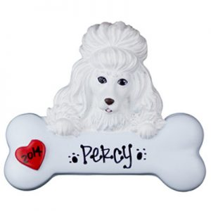 Poodle - White Personalized Ornament