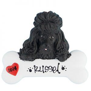 Poodle – Black Personalized Ornament