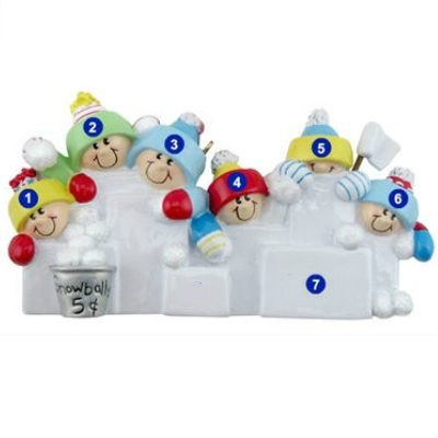 Snowball Fight Family of 6 Personalized Ornament