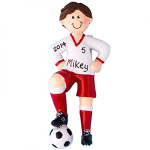 Soccer Guy - Brown Hair Personalized Ornament