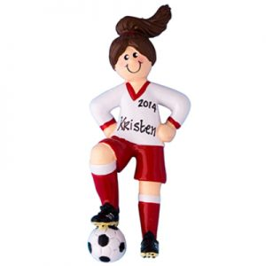 Soccer Girl - Brown Hair Personalized Ornament
