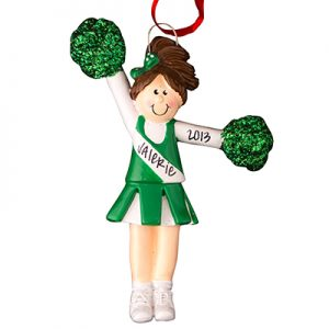 Cheerleader Green Uniform - Brown Hair Personalized Ornament