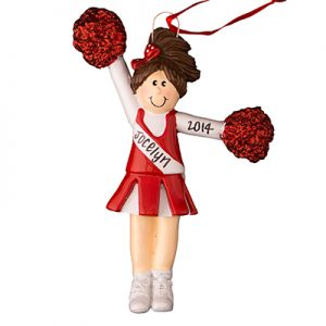 Cheerleader Red Uniform - Brown Hair Personalized Ornament