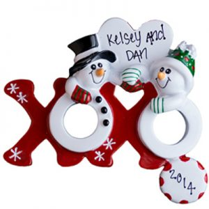 Christmas XOXO Snowmen Personalized Ornament