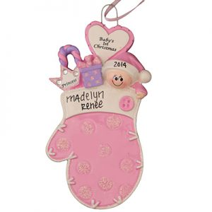 Pink Baby 1st Christmas Mitten Personalized Ornament