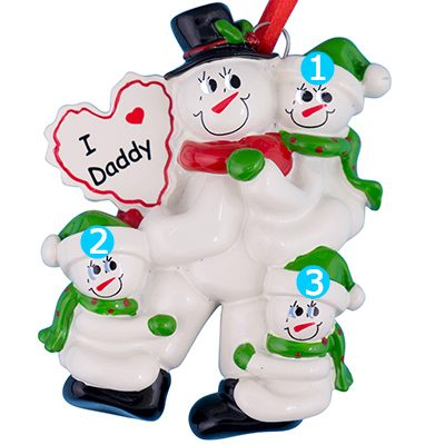 Dad with 3 Children Personalized Ornament