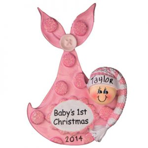 Pink Baby's 1st Christmas Bundle Personalized Ornament