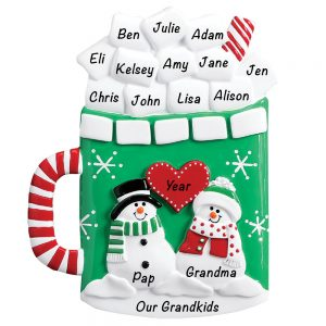 Marshmallow Mug Table Top Grandparents Personalized Christmas Ornament