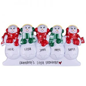 Snowman Table Top Family of 5 Personalized Ornament