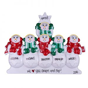 Snowman Table Top Family of 6 Personalized Ornament