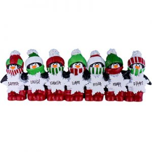 Penguin Table Top Family of 7 Personalized Ornament