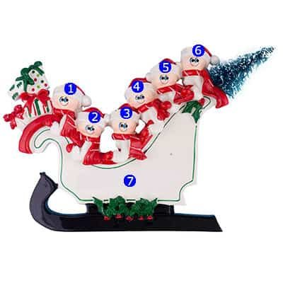 Sleigh Table Top Family of 6