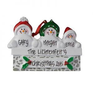 Snowmen On Gray Wall Family Of 3