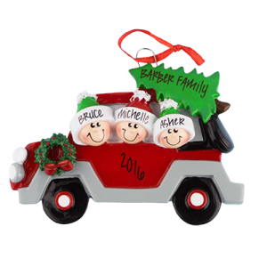 Car with Tree On Top Family of 3