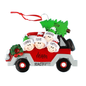 Car with Tree On Top Family of 4