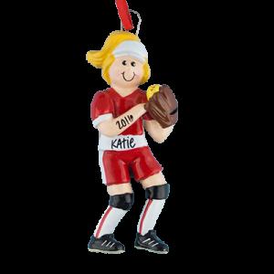 Girl Softball Player With Blonde Hair