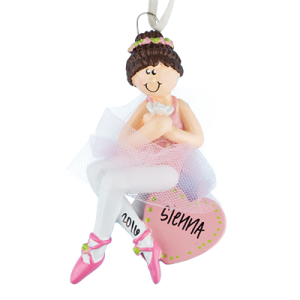 Ballerina Girl Sitting On Heart with Brown Hair