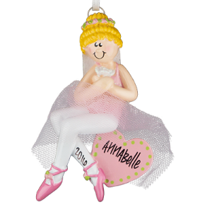 Ballerina Girl Sitting On Heart with Blonde Hair