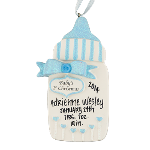 Blue Baby's 1st Christmas Bottle