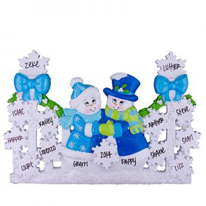 Blue Gate Snowmen Family Table Top