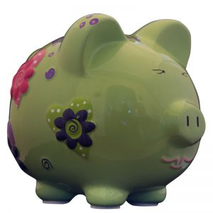 Green Heart Piggy Bank - Large