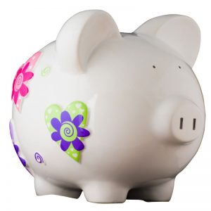 White Heart Piggy Bank - Large