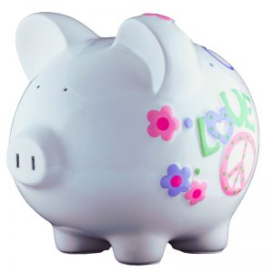 Peace Love Piggy Bank - Large