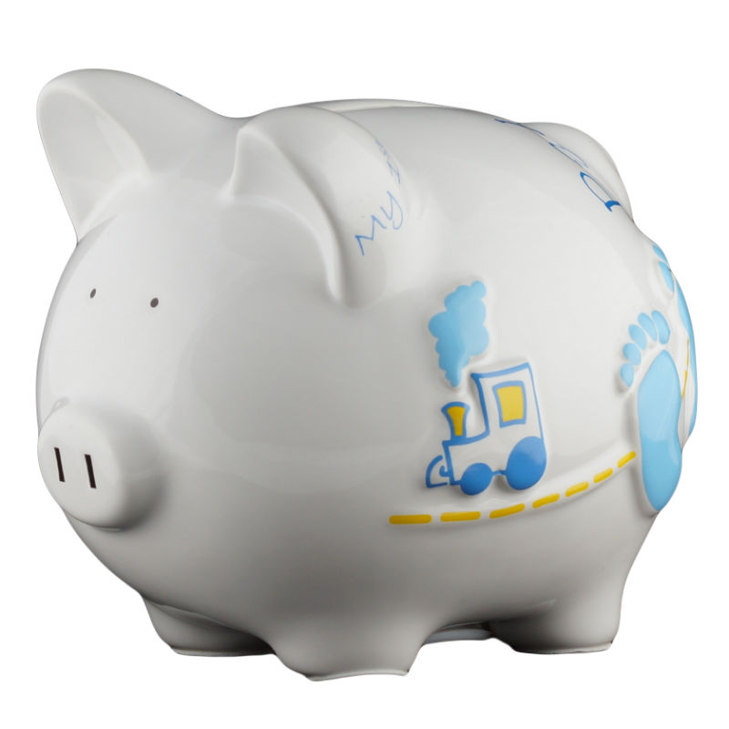 Baby blue piggy bank small - Coin banks for boys ...