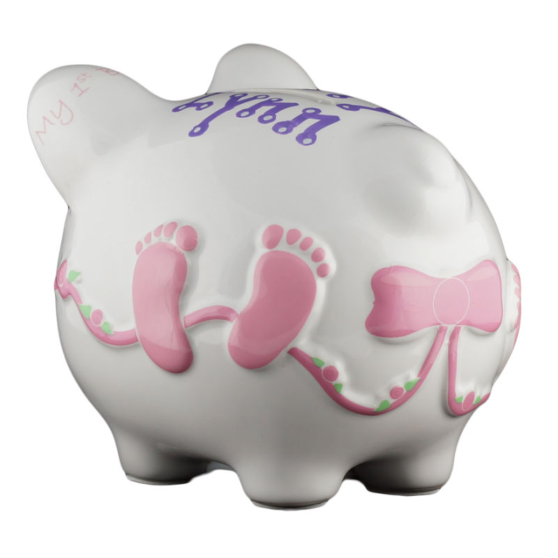 Baby Pink Girls Piggy Bank Small