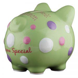 Green Polka Dot Piggy Bank - Small