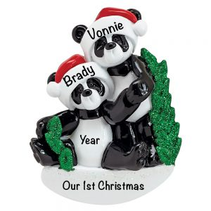 Panda Couple Personalized Christmas Ornament